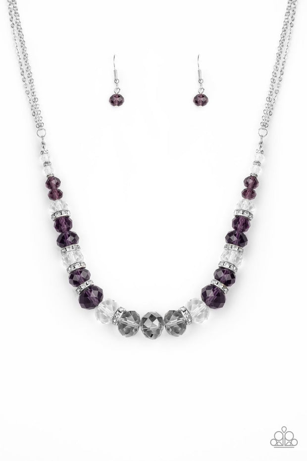 Paparazzi Distracted by Dazzle - Purple - Shimmery Silver Chains - Necklace & Earrings - Glitzygals5dollarbling Paparazzi Boutique