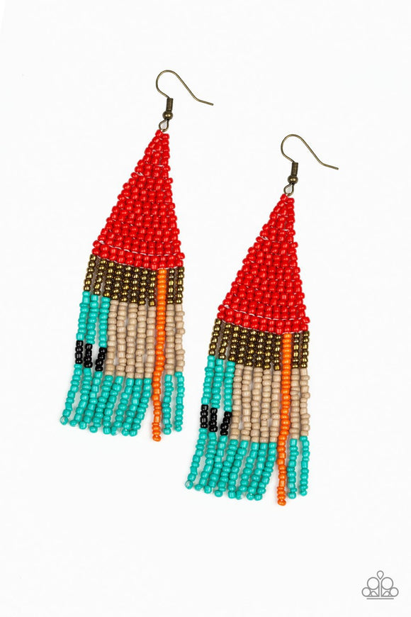 Paparazzi Beaded Boho - Red - Brass, Orange, Blue, Black and Brown Seed Beads - Earrings