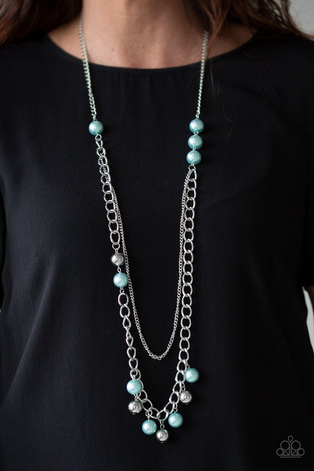 Paparazzi Modern Musical - Blue Pearls - Silver Thick Chain Necklace and Earrings - 2019 Summer Party Exclusive - Glitzygals5dollarbling Paparazzi Boutique