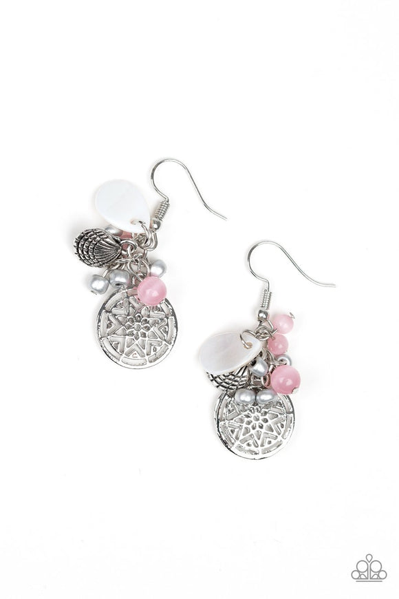 Paparazzi Ocean Oracle - Pink Cat's Eye Beads - Silver Seed Beads - Silver Seashell Nautical Earrings