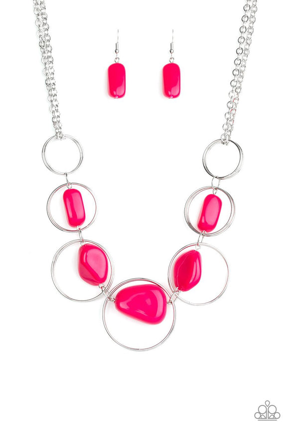 Paparazzi Travel Log - Pink - Silver Hoops - Necklace and matching Earrings