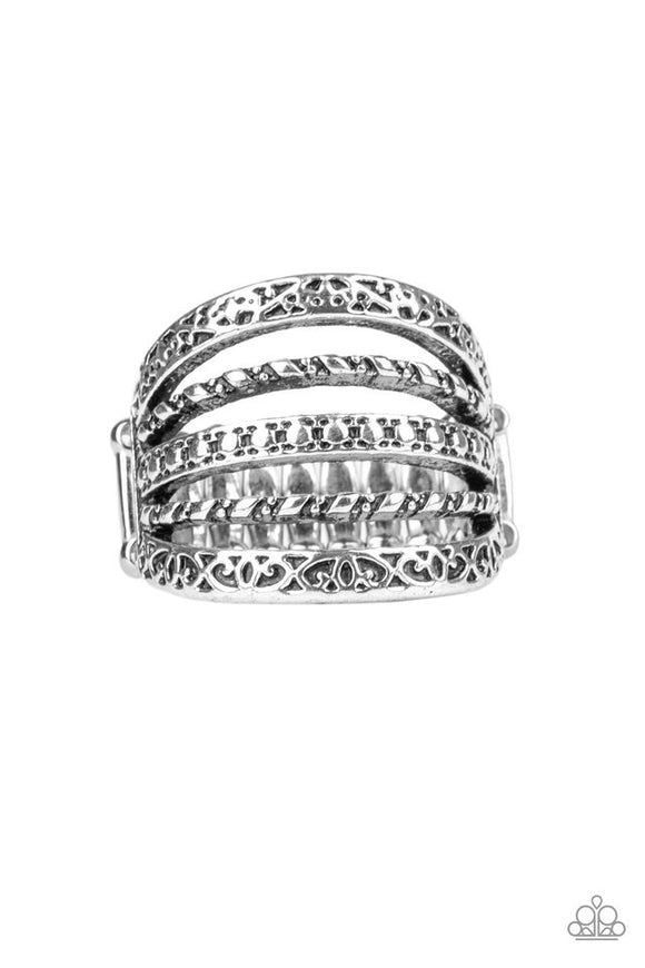 Textile Bliss - silver - Paparazzi ring