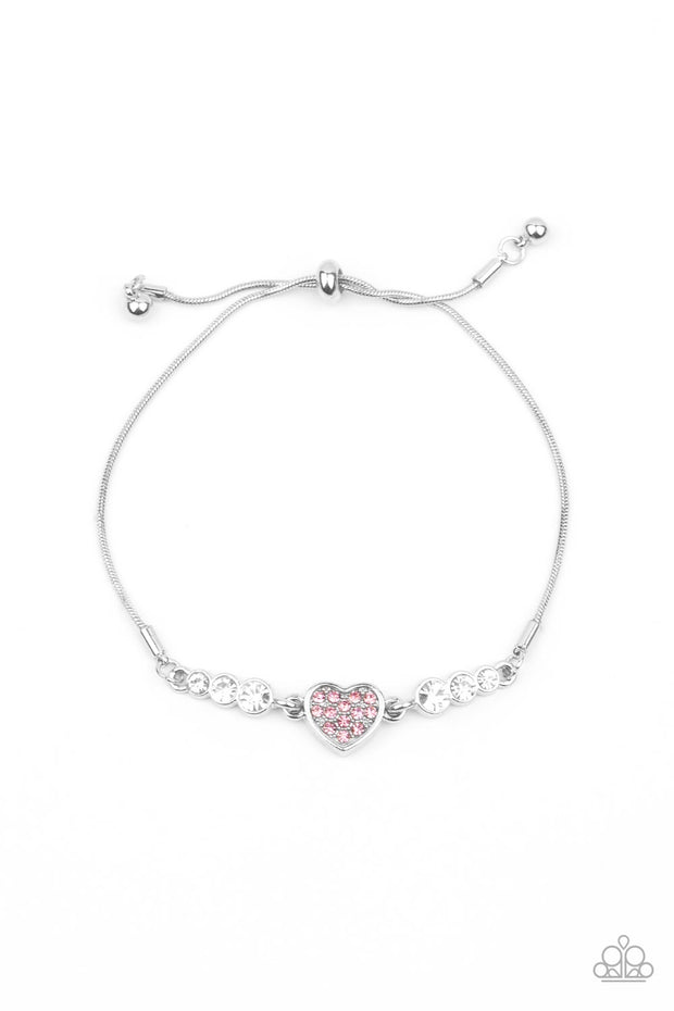 Paparazzi Big-Hearted Beam - Pink Heart Bracelet Life of the Party Exclusive - Glitzygals5dollarbling Paparazzi Boutique
