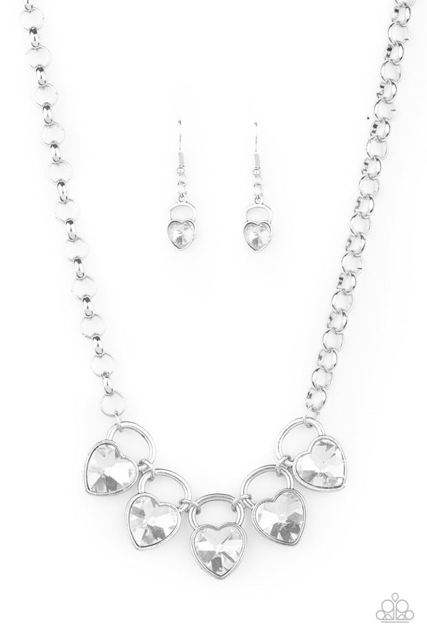 Paparazzi HEART On Your Heels - White Necklace Life of the Party Exclusive - Glitzygals5dollarbling Paparazzi Boutique