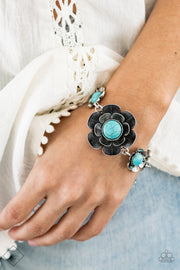 PREORDER Paparazzi Badlands Blossom - Blue Turquoise Floral Bracelet Fashion Fix Exclusive - Glitzygals5dollarbling Paparazzi Boutique