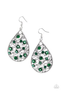 Paparazzi Certainly Courtier Green Earrings