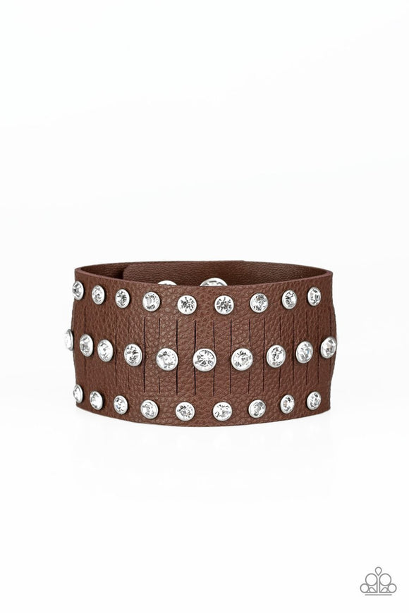 Paparazzi Now Taking The Stage - Brown Leather Band - White Rhinestones - Bracelet