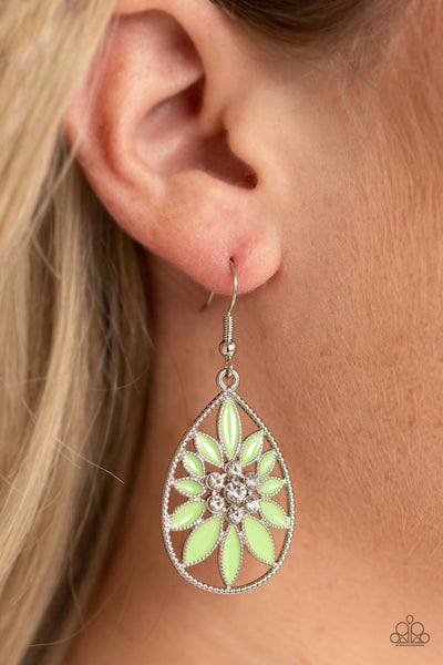 Paparazzi Floral Morals - Green Earrings