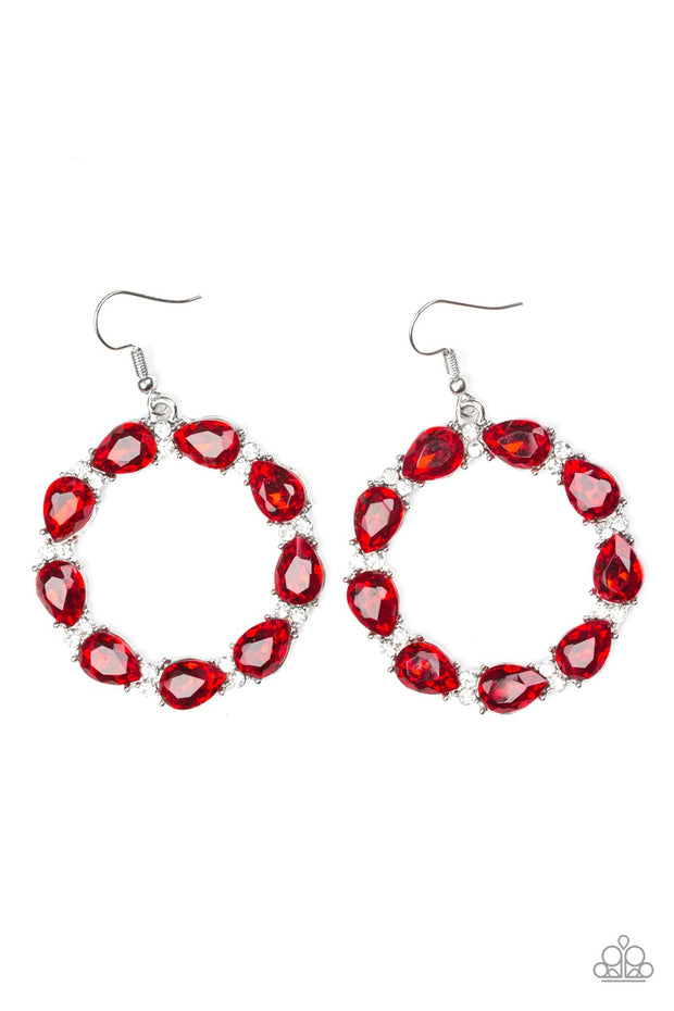 Ring Around the Rhinestones Red Earrings - Glitzygals5dollarbling Paparazzi Boutique