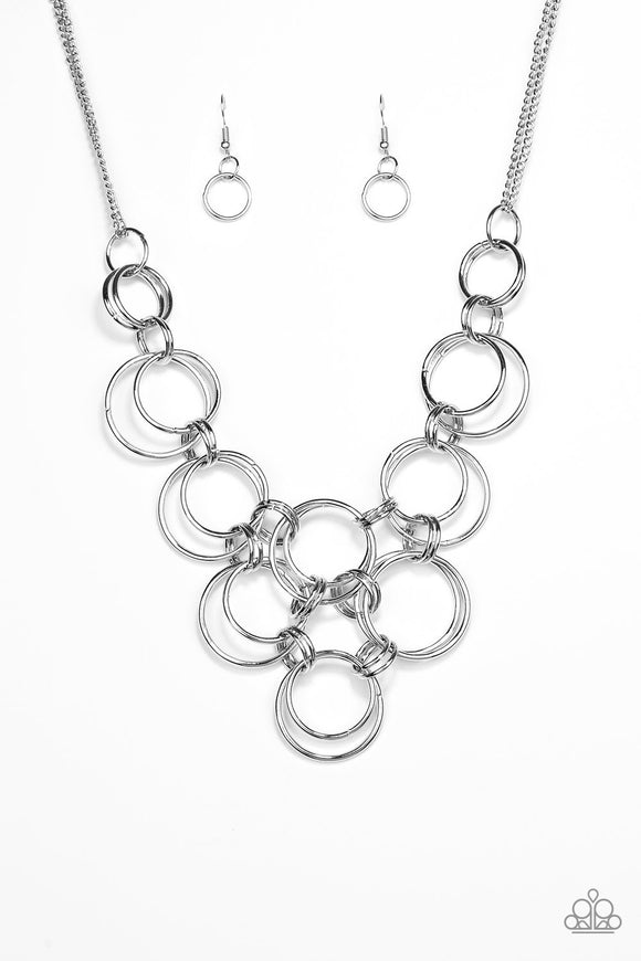 "Paparazzi ""Ringing Off The Hook"" Silver Necklace"