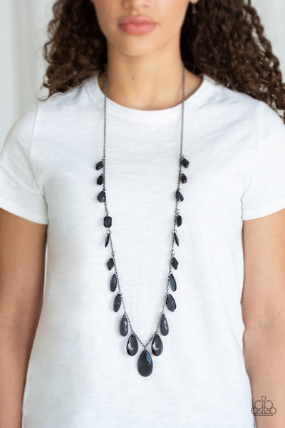 GLOW And Steady Wins The Race Black – Paparazzi Necklace - Glitzygals5dollarbling Paparazzi Boutique