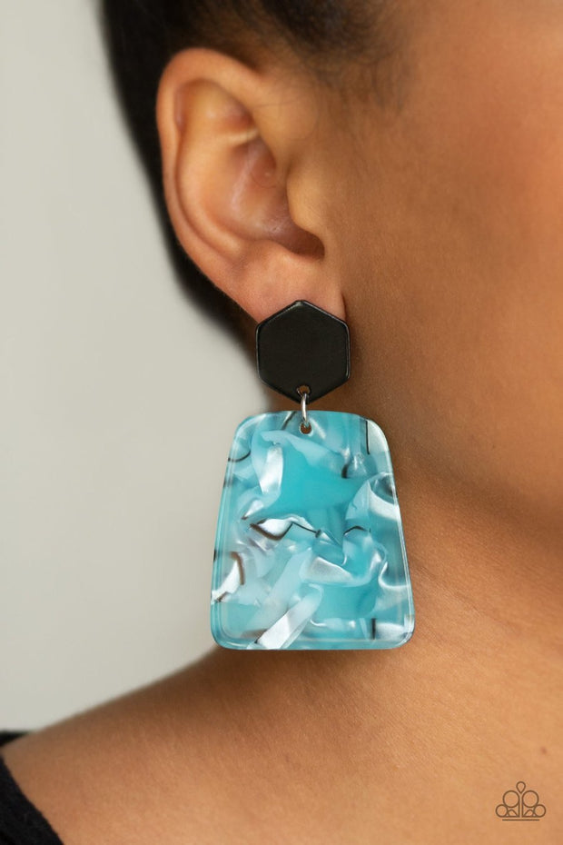 Paparazzi Majestic Mariner - Blue - Faux Marble - Acrylic Post Earrings - Glitzygals5dollarbling Paparazzi Boutique