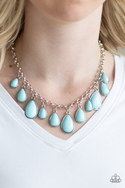 Paparazzi Jaw-Dropping Diva - Blue - Teardrop Beads - Necklace & Earrings - Glitzygals5dollarbling Paparazzi Boutique