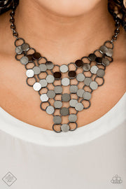 Paparazzi Net Result - Black Gunmetal - Necklace & Earrings - Trend Blend / Fashion Fix March 2020 - Glitzygals5dollarbling Paparazzi Boutique