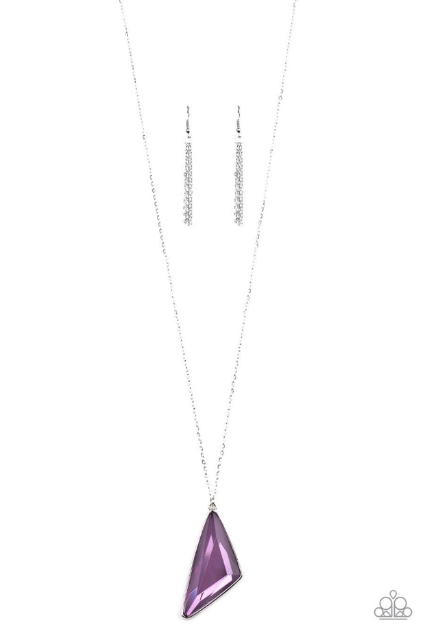 Paparazzi Ultra Sharp - Purple Gem - Triangular - Silver Chain Necklace & Earrings - Glitzygals5dollarbling Paparazzi Boutique