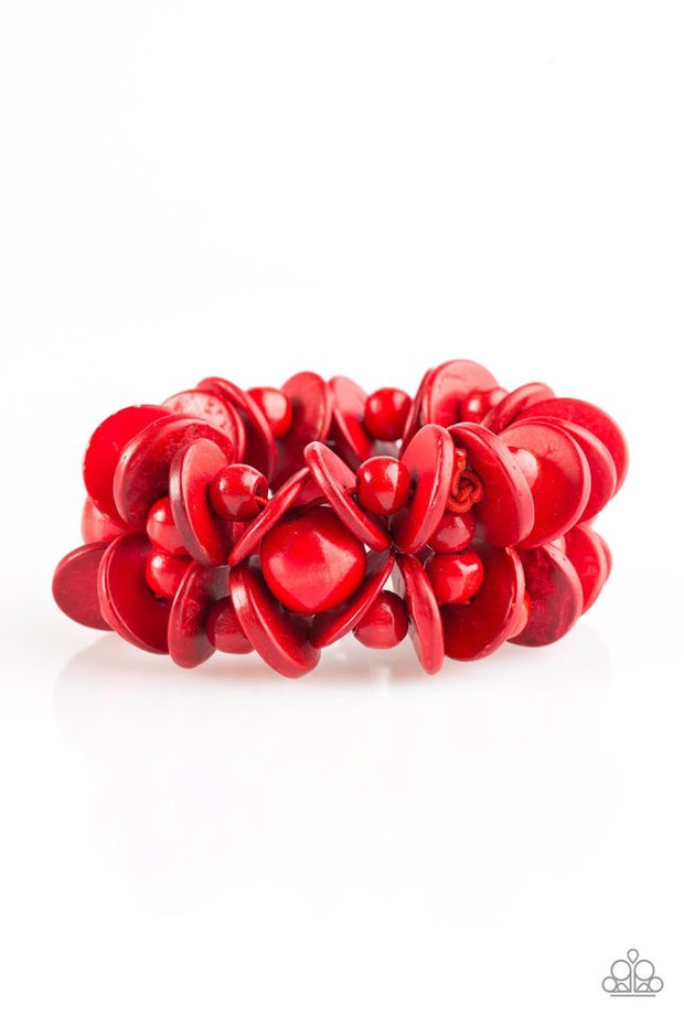 "Paparazzi ""Tropical Temptress"" Red Wooden Bracelet - Glitzygals5dollarbling Paparazzi Boutique"