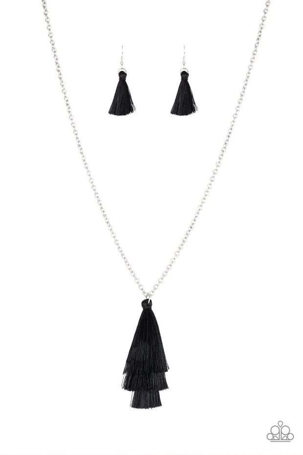 Paparazzi Triple The Tassel - Black Thread - 3 Tiered - Silver Chain Necklace and matching Earrings - Glitzygals5dollarbling Paparazzi Boutique