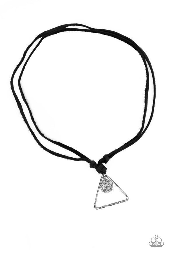 Paparazzi Terra Traverse - Black Leather - Hammered Triangle Tree Pattern - Urban Necklace