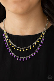 Paparazzi Dainty Distraction - Purple - Yellow Beads - Silver Necklace and matching Earrings - Glitzygals5dollarbling Paparazzi Boutique