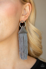 Paparazzi Oh My GIZA - Silver Tasseled Cording / Thread / Fringe - Silver Hoop Post Earrings