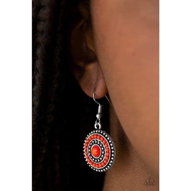 "Paparazzi ""Rainbow Riviera"" Red Earrings - Glitzygals5dollarbling Paparazzi Boutique"