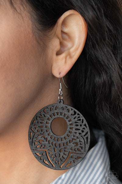 Paparazzi Mandala Mambo Black Wooden Earrings - Glitzygals5dollarbling Paparazzi Boutique