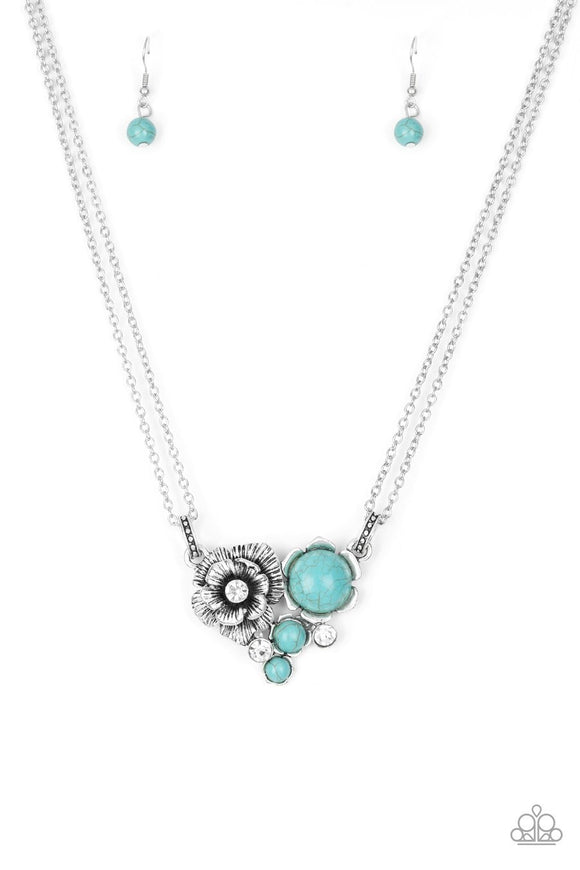 Paparazzi Desert Harvest - Blue Turquoise - Silver Necklace and matching Earrings