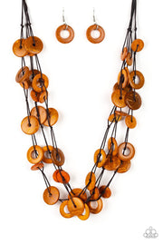 Paparazzi Wonderfully Walla Walla - Orange Wooden Necklace and matching Earrings - Glitzygals5dollarbling Paparazzi Boutique
