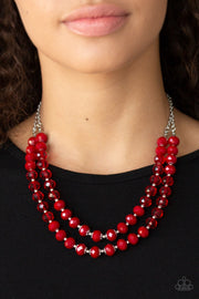 Paparazzi Glitter Gratitude Red Necklace - Glitzygals5dollarbling Paparazzi Boutique