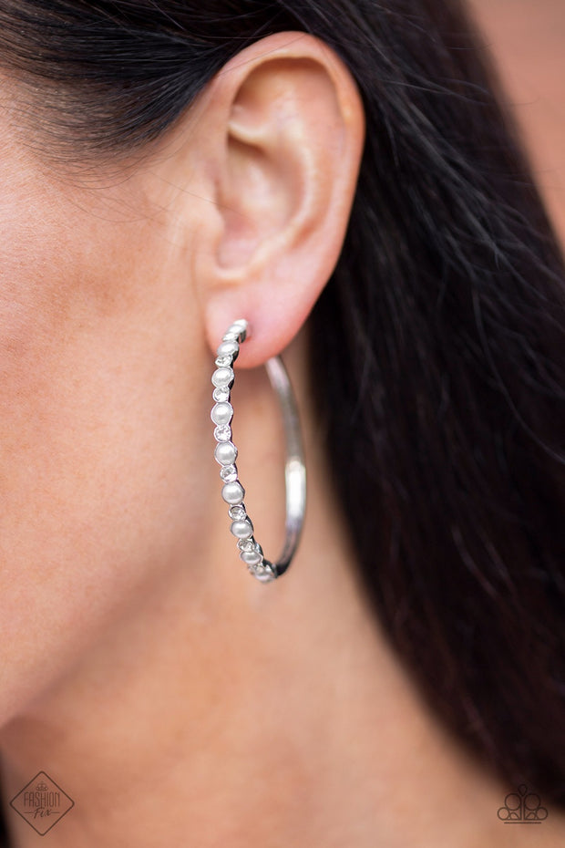 Paparazzi A Sweeping Success - White Pearls - Earrings - Fashion Fix / Trend Blend Exclusive January 2020 - Glitzygals5dollarbling Paparazzi Boutique