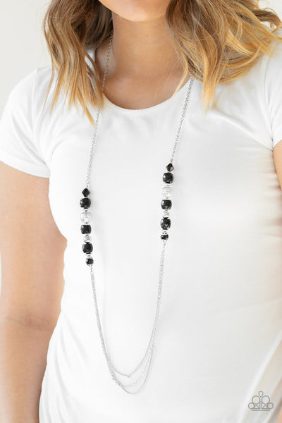 Paparazzi Native New Yorker - Black Beads - Silver Necklace and matching Earrings - Glitzygals5dollarbling Paparazzi Boutique