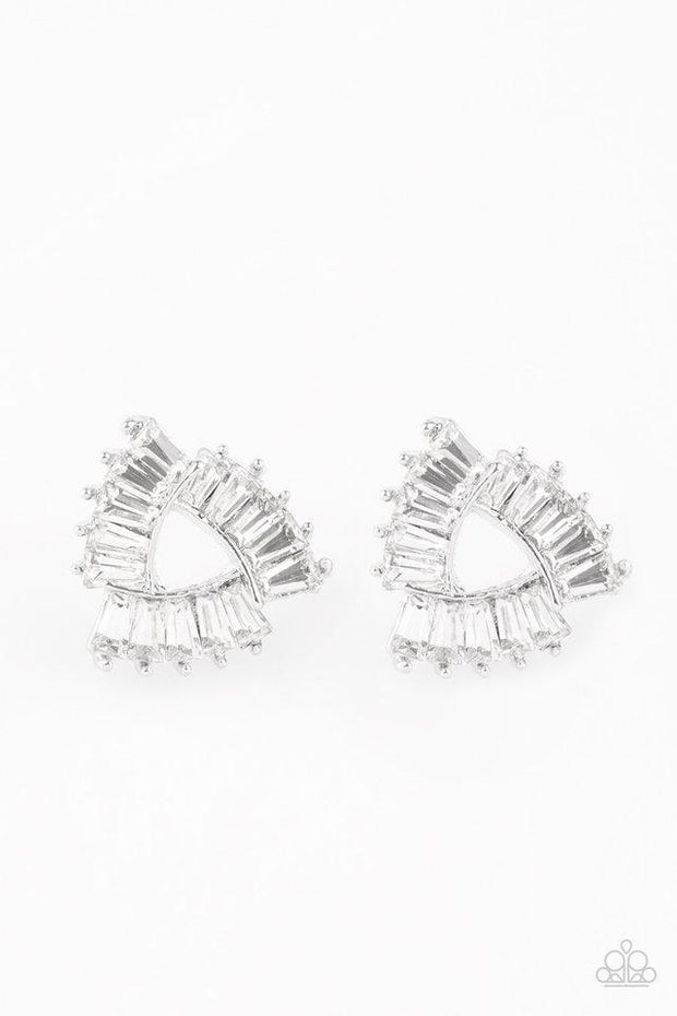 Paparazzi Renegade Shimmer White Rhinestone Earrings
