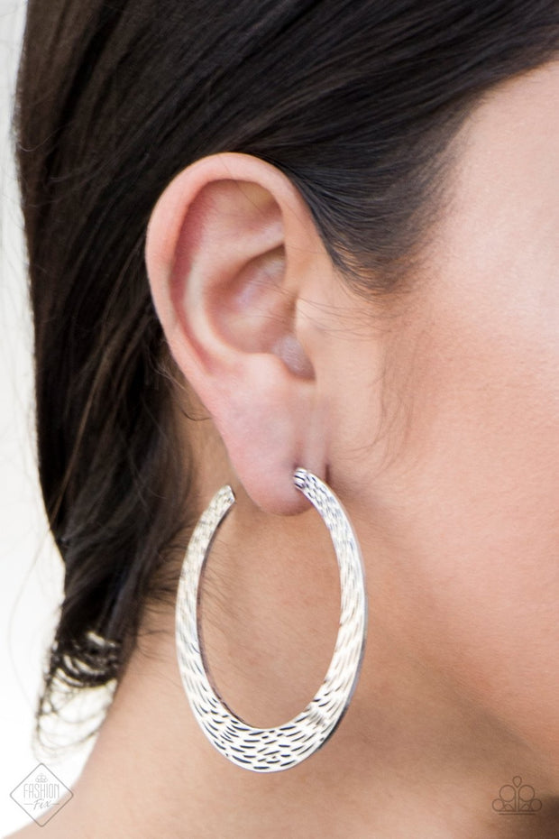Paparazzi In my Element Silver Hoop Earrings Fashion Fix - Glitzygals5dollarbling Paparazzi Boutique