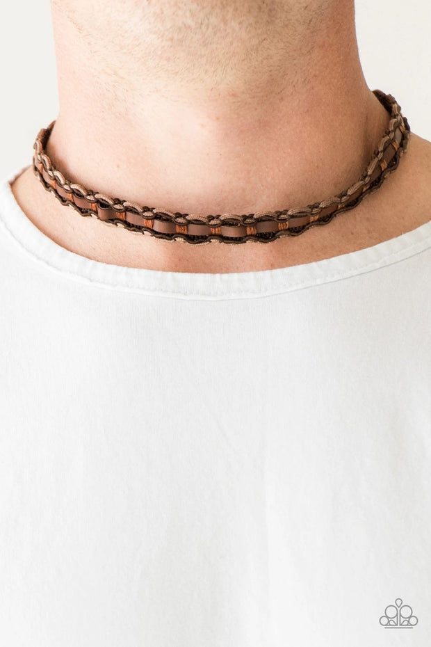 PAPARAZZI TRACK TRACKER - BROWN LEATHER Urban Necklace - Glitzygals5dollarbling Paparazzi Boutique