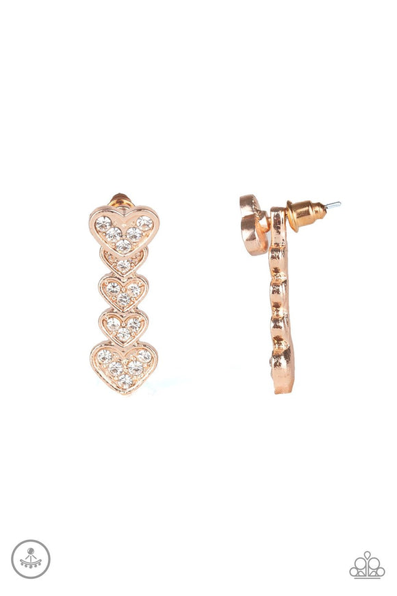 Paparazzi Heartthrob Twinkle - Rose Gold - White Rhinestones - Double Sided Heart Earrings