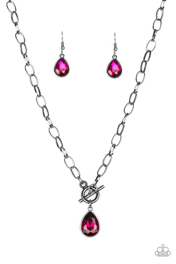Paparazzi So Sorority - Pink - Teardrop Gem - Toggle Closure Necklace and matching Earrings