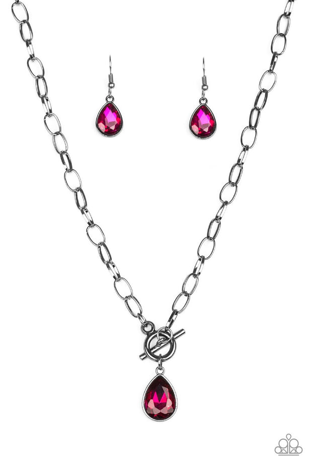 Paparazzi So Sorority - Pink - Teardrop Gem - Toggle Closure Necklace and matching Earrings - Glitzygals5dollarbling Paparazzi Boutique