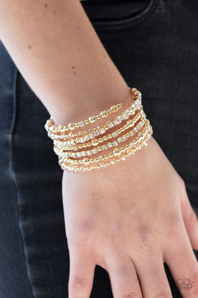 Paparazzi ICE Knowing You - Gold Bracelet - Glitzygals5dollarbling Paparazzi Boutique