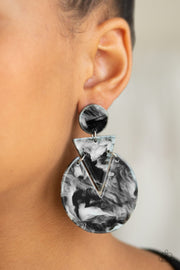 "Paparazzi ""Head Under WATERCOLORS"" Black Post Earrings - Glitzygals5dollarbling Paparazzi Boutique"