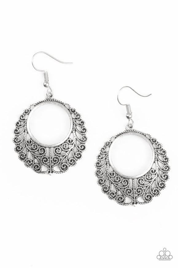 Grapevine Glamorous - Silver - Vine Filigree - Hoop Earrings Paparazzi Accessories