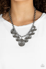 Paparazzi  Texture Storm - Black - Gunmetal Teardrops - Hammered Shimmer - Necklace and matching Earrings - Glitzygals5dollarbling Paparazzi Boutique