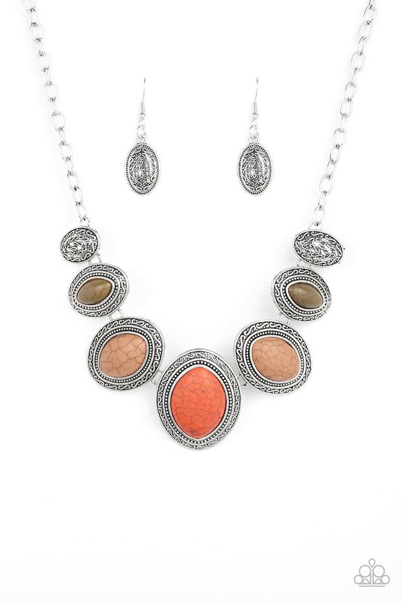 Paparazzi Sierra Serenity - Multi - Orange, Green and Brown Stones - Silver Necklace and matching Earrings