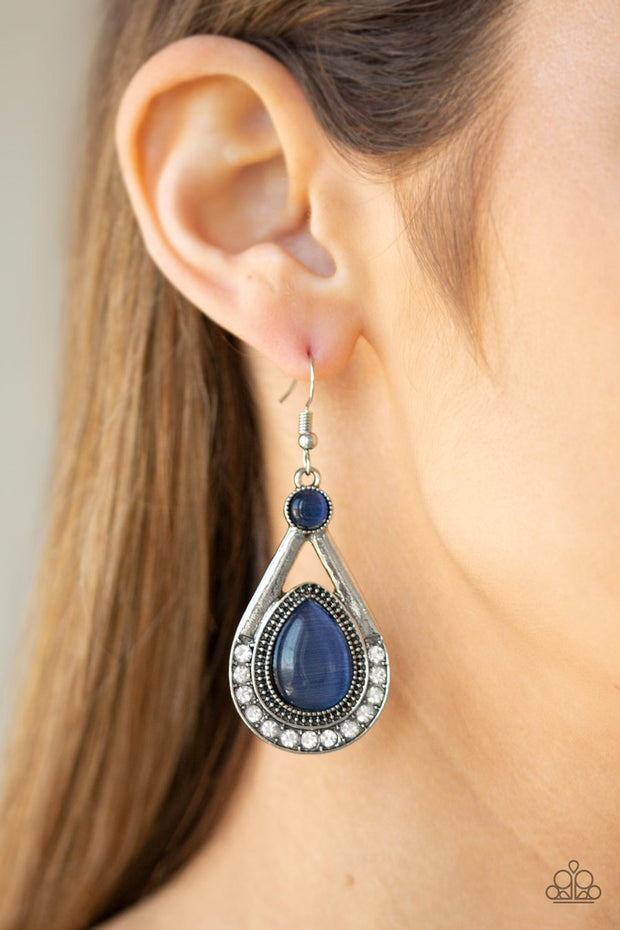 Paparazzi Pro Glow - Blue - Cat's Eye Moonstone - Silver Teardrop Frame - Earrings - Glitzygals5dollarbling Paparazzi Boutique