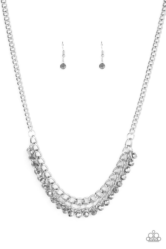 Paparazzi Glow and Grind - Silver - Hematite Rhinestones - Bold Silver Chain Necklace and matching Earrings
