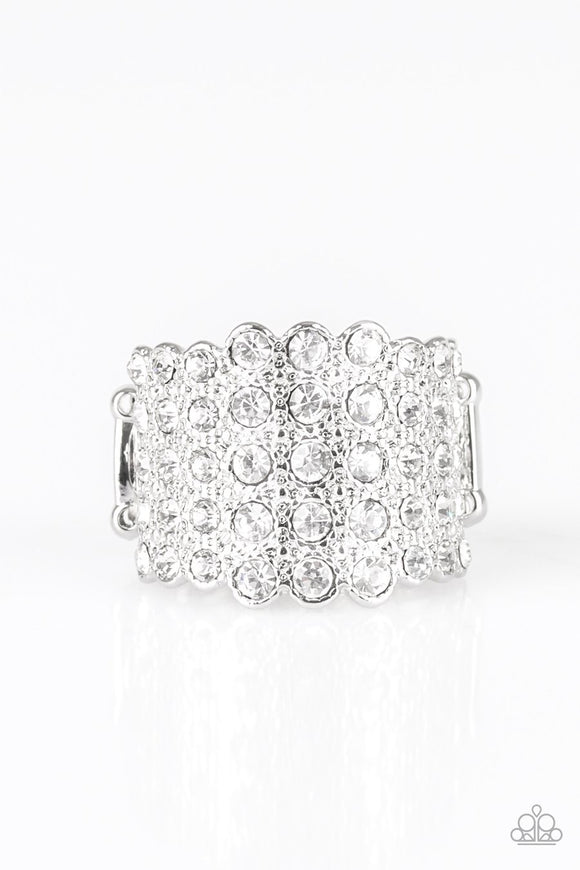 Paparazzi Million Dollar Masquerade - White Rhinestones - Gorgeous Ring