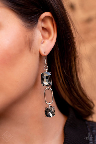 Paparazzi Shameless Sparkle Silver Hematite Earrings Fashion Fix Exclusive - Glitzygals5dollarbling Paparazzi Boutique