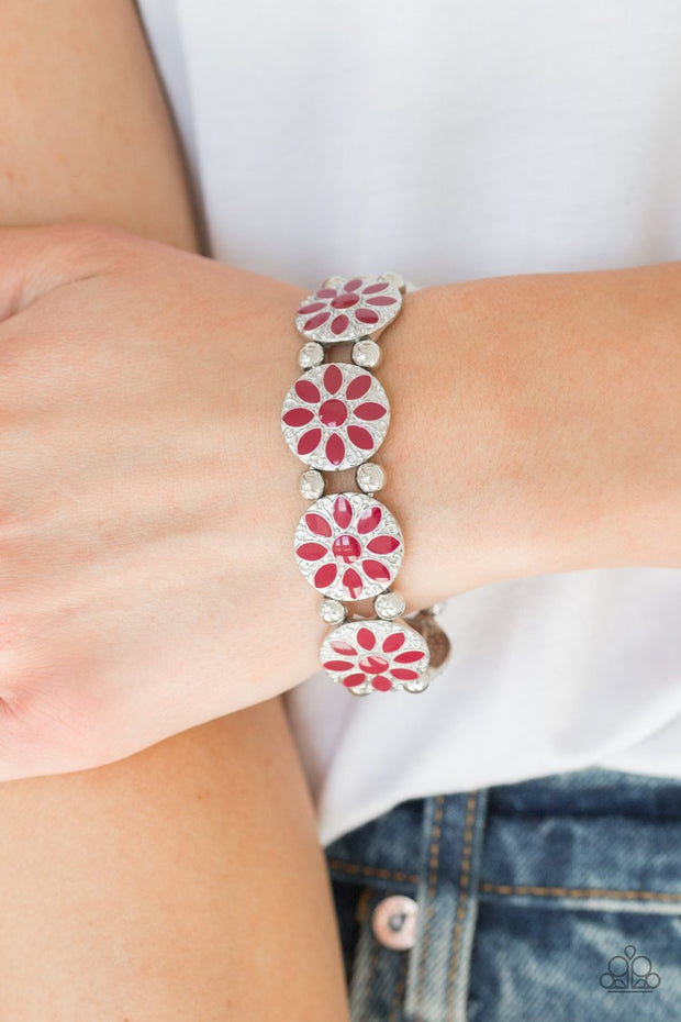 Paparazzi Dancing Dahlias - Red - Silver Stretchy Band Bracelet - Glitzygals5dollarbling Paparazzi Boutique