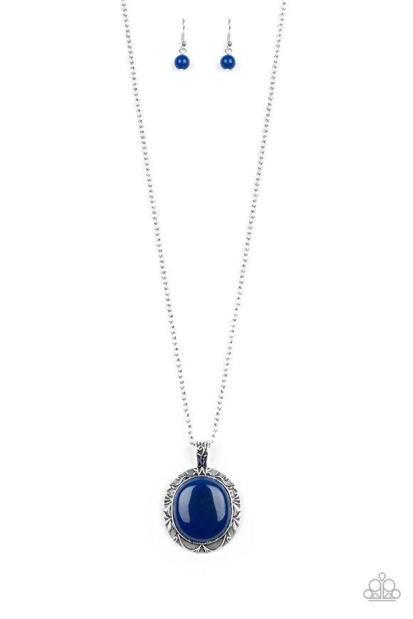 Paparazzi Stone Aura - Blue Stone - Leafy Filigree Pattern - Silver Chain Necklace and matching Earrings