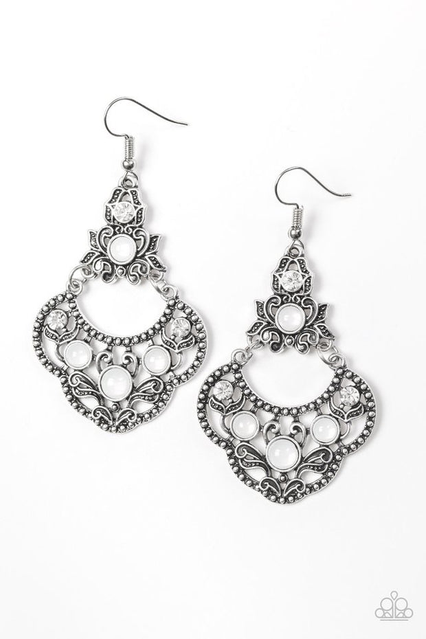 Garden State Glow White Earring - Glitzygals5dollarbling Paparazzi Boutique