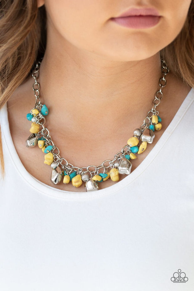 Paparazzi Quarry Trail - Yellow - Turquoise Beads - Silver Necklace and matching Earrings - Glitzygals5dollarbling Paparazzi Boutique